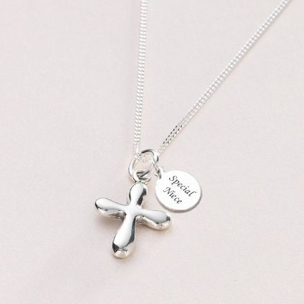 Silver Rounded Cross Necklace with Engraving